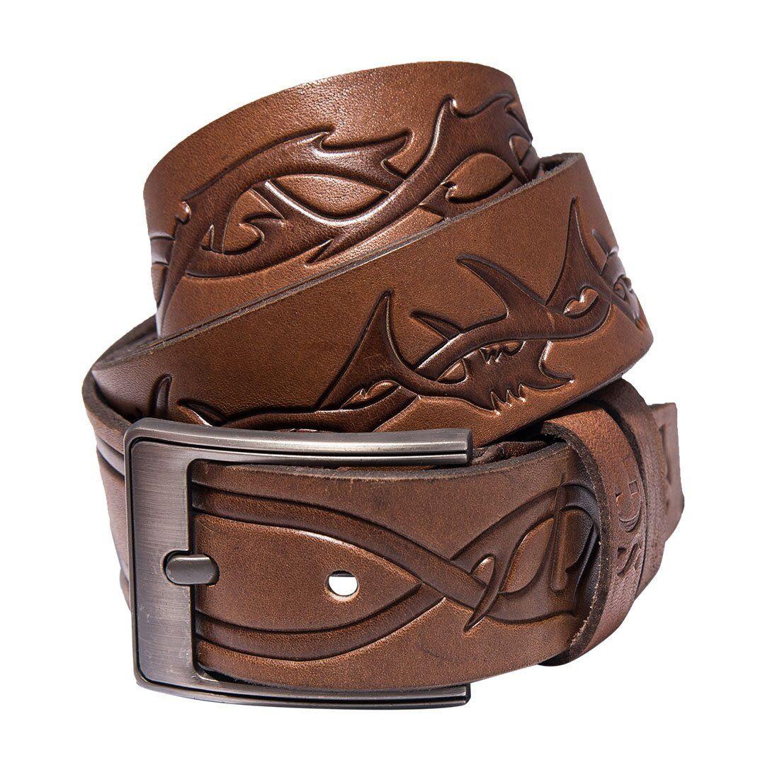 Коричневый мужской кожаный ремень от бренда SG Empire SGEmpire